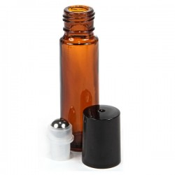 Sklenená fľaška 10ml - Roll On - hnedá