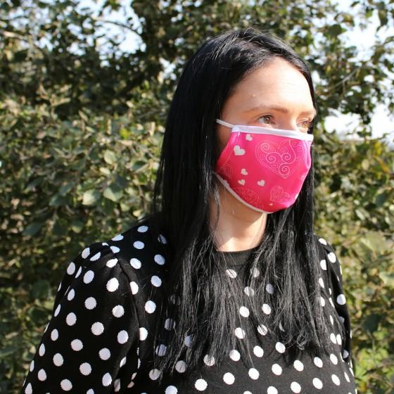 Ochranné rúško na tvár - srdiečka