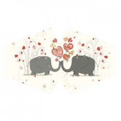 Ochranné rúško na tvár - zaľúbení sloníci