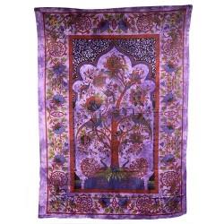 Posteľná prikrývka/nástenná dekorácia - Strom života - fialová