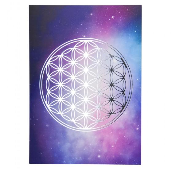 Mandala obrázok - Kvet života strieborná tlač