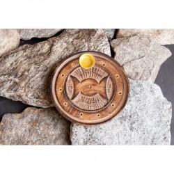 Stojan na tyčinky - drevený tanierový slnko mesiac