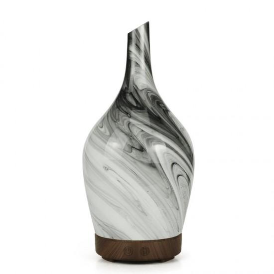 Difuzér - Elektrický Ultrazvuk - Led Svetlo Sklo Váza čierno biela