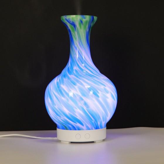 Difuzér - Elektrický Ultrazvuk - Led Svetlo Sklo Váza Modrá a Zelená