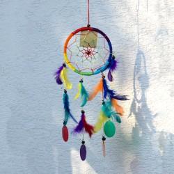 Lapač snov - stredný pletený dúhový