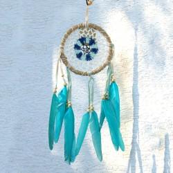Lapač snov - stredný pletený modrý