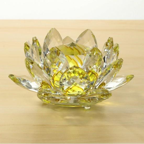 FS - Lotosový krištáľový kvet 13cm - žltý