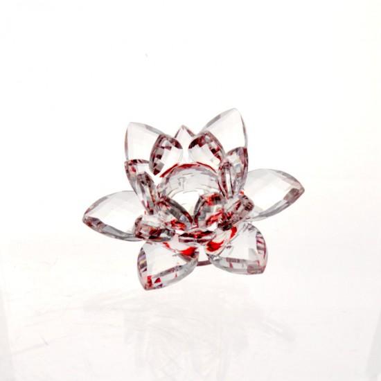 FS - Lotosový krištáľový kvet 6cm - červený