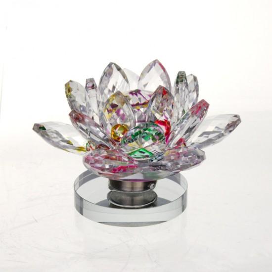 FS - Lotosový krištáľový kvet 8cm - dúhový