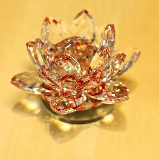 Lotosový krištáľový kvet 10cm - červený 2