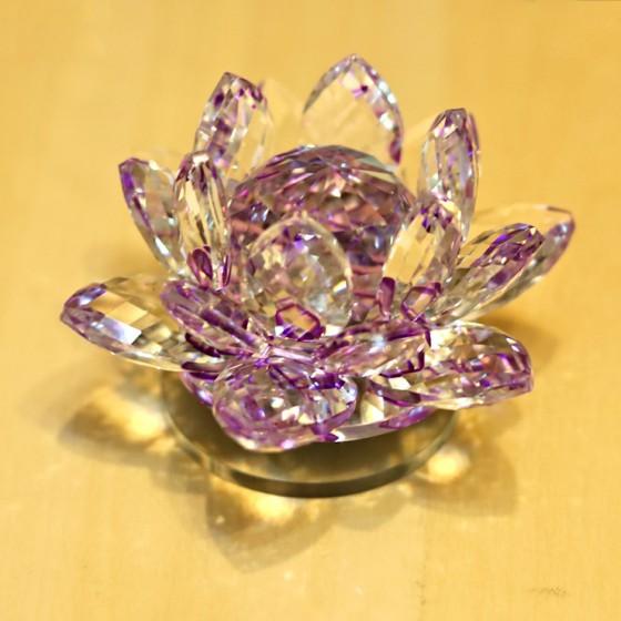 Lotosový krištáľový kvet 10cm - fialový