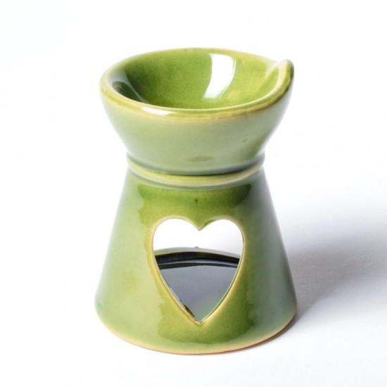 Aromalampa - keramická srdiečko zelená