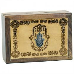 Box na vykladacie karty - drevená ruka fatimy