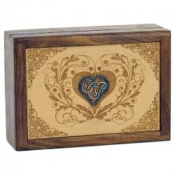 Box na vykladacie karty - drevené srdce