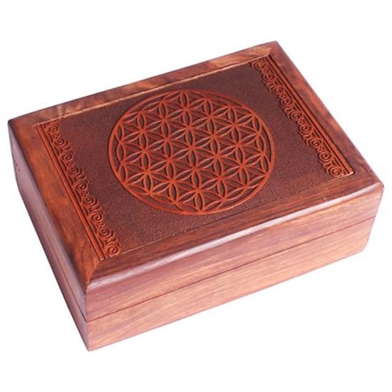 Box na vykladacie karty - drevený kvet života