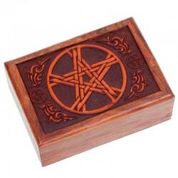 Box na vykladacie karty - drevený pentagram