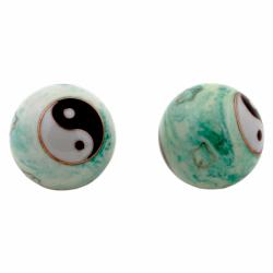 Čínske gule či kung 4cm - Ying Yang zeleno biele