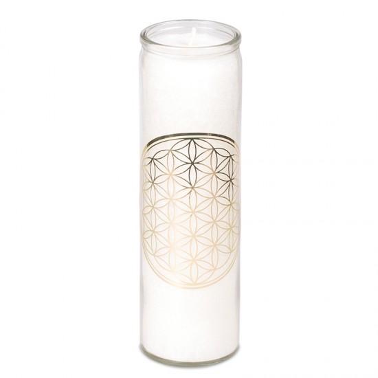 Sviečka eko v skle - biela vonná - kvet života 21cm