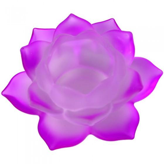 Krištáľový svietnik matný lotos fialový M