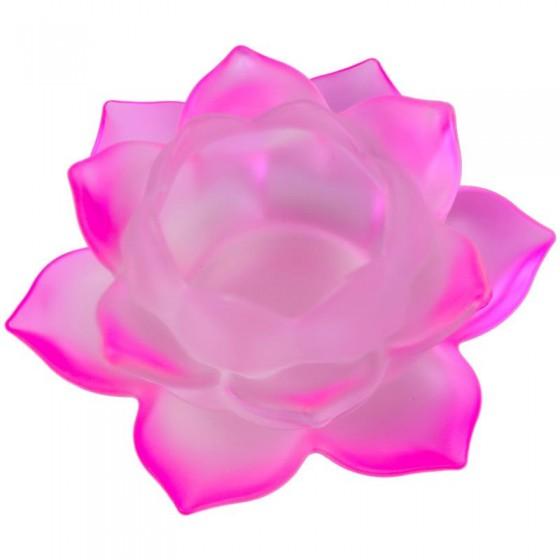 Krištáľový svietnik matný lotos ružový M