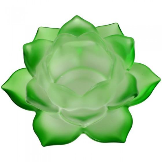 Krištáľový svietnik matný lotos zelený M