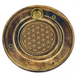 Stojan na tyčinky - drevený tanierový kvet života