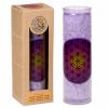 Sviečka eko v skle - fialová vonná - kvet života 21cm