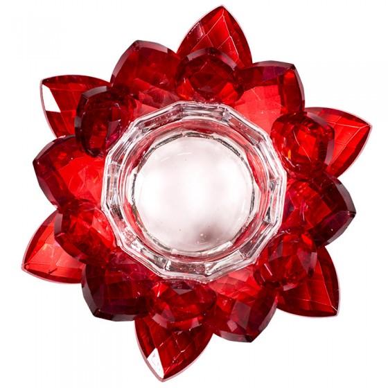 Krištáľový svietnik lotos červený M