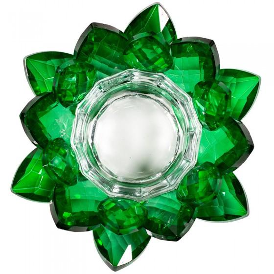 Krištáľový svietnik lotos zelený M