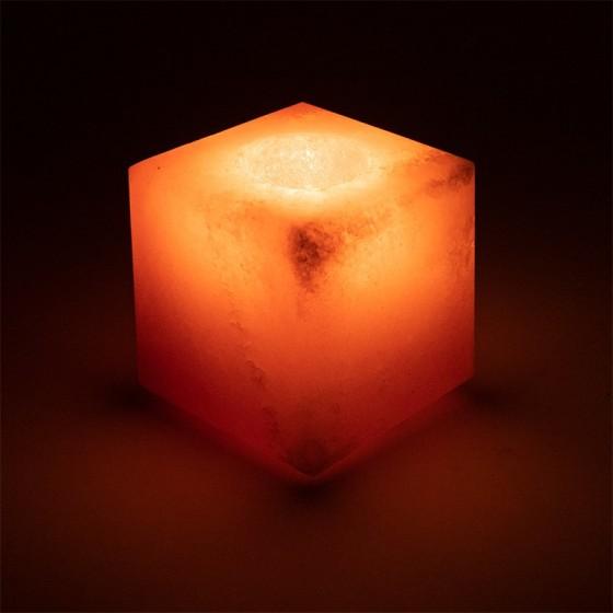 Svietnik z Himalájskej soli - Soľná Lampa 9cm - kocka