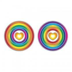 Mandala okenná nalepovacia - Dúhové srdce - 2 malé